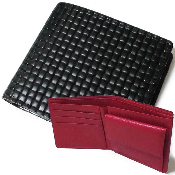 ※牛革ブロックメッシュ&裏牛革 ブラック&レッド 二つ折財布 札入れ 日本製