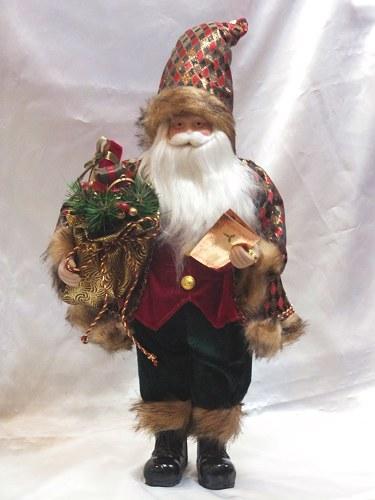 【お買い物マラソン特別価格】【送料無料】チェックマントサンタクリスマス サンタ スタンディング プレゼント 置物