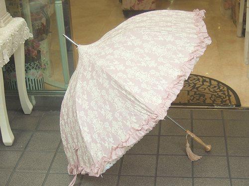 パゴタ型アラベスク日傘:ピンク(晴雨兼用)日傘 雨傘 晴雨兼用 レース アラベスク パゴタ型 プレゼント 【HLS_DU】