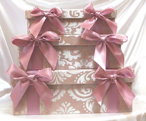 リボンスクエアボックス3個セット:ピンク収納ボックス おしゃれ プレゼント 【HLS_DU】