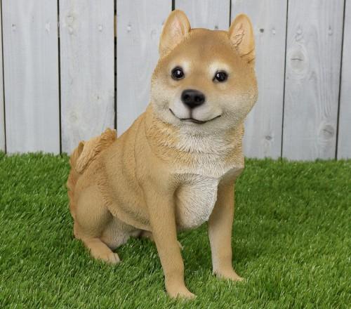 【送料無料】アニマルオブジェ:柴犬(親)おすわり 犬 置物 インテリア 動物 オブジェ 子犬