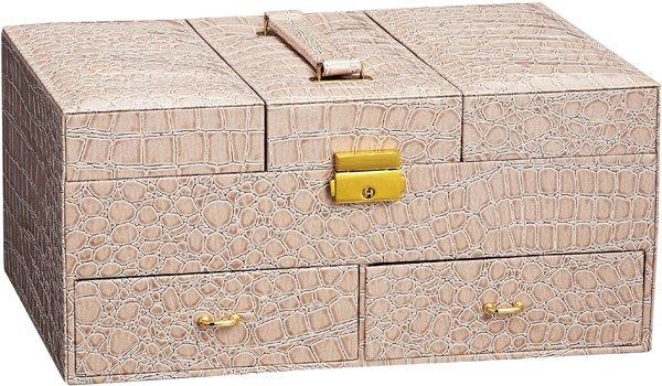 ラグジュアリージュエリーボックス:ベージュクロコダイル ジュエリー アクセサリーケース 小物入れ おしゃれ ボックス お祝い 記念品 【HLS_DU】