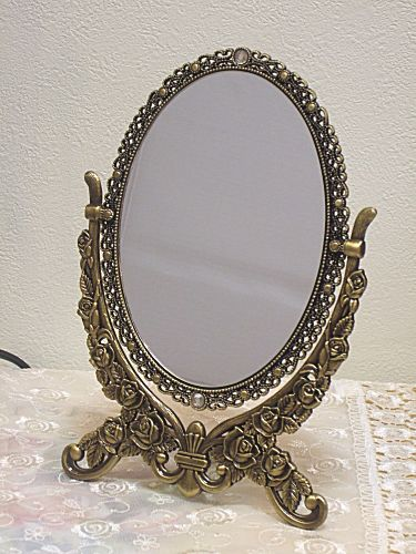 mirror on stand. heroes stand mirror: small: antique gold mirror on