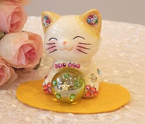 Cute glitter ♪ Feng Shui! Angel cat: yellow business thriving Grand opening celebration pass pray for congratulation family a mascot cat figurine piggy