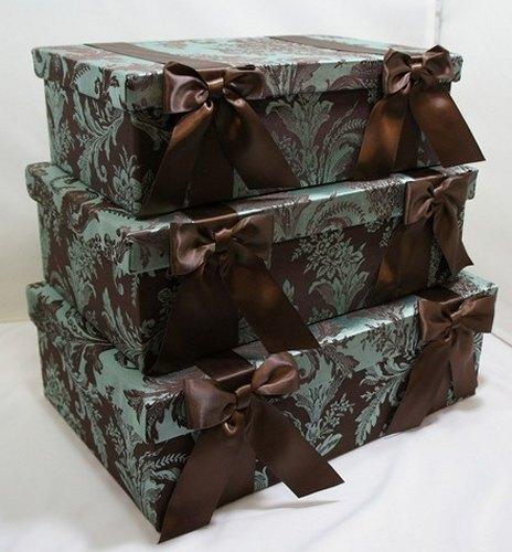 【送料無料】ジェニファーテイラーリボンスクエアボックス3個セット:Carlisle収納ボックス おしゃれ プレゼント 【HLS_DU】