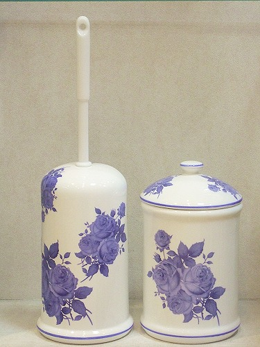 With Set And Ceramic Toilet Brush Stand Pot Blue Rose Fashionable Holder Cleaning Supplies