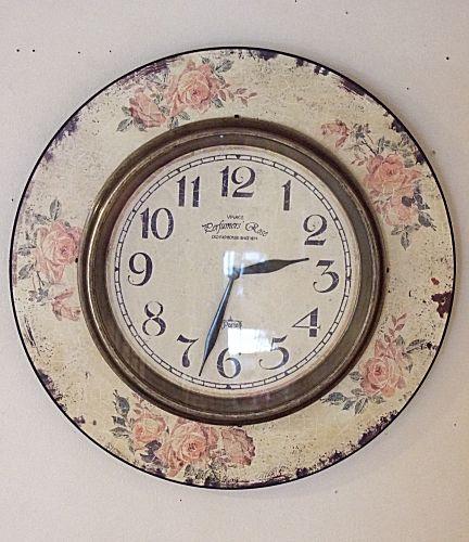 アンティークなバラ模様が素敵な掛時計時計 壁掛け バラ 薔薇 新築祝い 引越祝い 記念品 通販 おしゃれ 【HLS_DU】