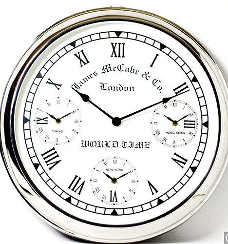 【送料無料】シルバークロック:世界三都市時刻付き壁掛け時計時計 壁掛け シルバー 新築祝い 引越祝い 記念品 通販 おしゃれ シンプル 【HLS_DU】