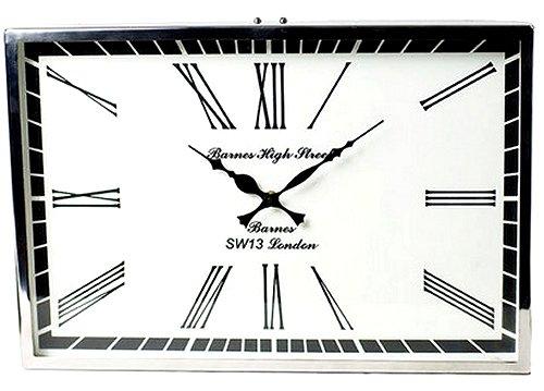 【送料無料】シルバークロック:長方形壁掛け時計(横型)時計 壁掛け シルバー 新築祝い 引越祝い 記念品 通販 おしゃれ シンプル 【HLS_DU】
