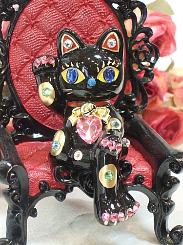 Glittery gorgeous ♪ sitting beckoning: black business thriving Grand opening celebration pass pray for us celebrate family luck Deco cat figurine