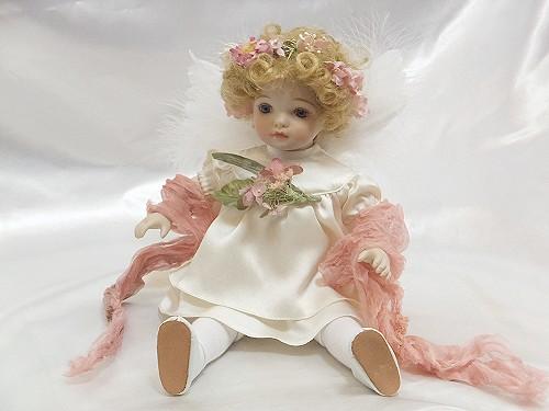【送料無料】若月まり子 ビスクドール「ベビーエンジェル:ピンク」【楽ギフ_のし】ビスクドール 御祝 贈答 創作人形 ギフト 結婚祝 出産祝 記念品