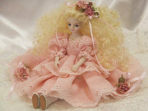 【送料無料】若月まり子 ビスクドール♪ピンクレース 薔薇の女の子:ロザリーヌ【楽ギフ_のし】ビスクドール 御祝 贈答 創作人形 ギフト 結婚祝 出産祝 記念品