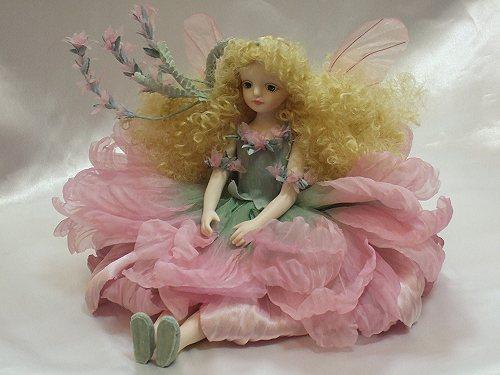 【送料無料】若月まり子 お花の妖精人形♪エルフィンフローリー:ラベンダー(ピンク)【楽ギフ_のし】ビスクドール 御祝 贈答 創作人形 ギフト 結婚祝 出産祝 記念品