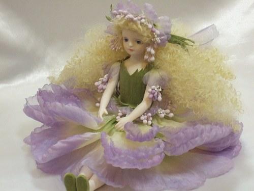 【送料無料】若月まり子 お花の妖精人形♪エルフィンフローリー:スカビオサ(パープル)【楽ギフ_のし】ビスクドール 御祝 贈答 創作人形 ギフト 結婚祝 出産祝 記念品