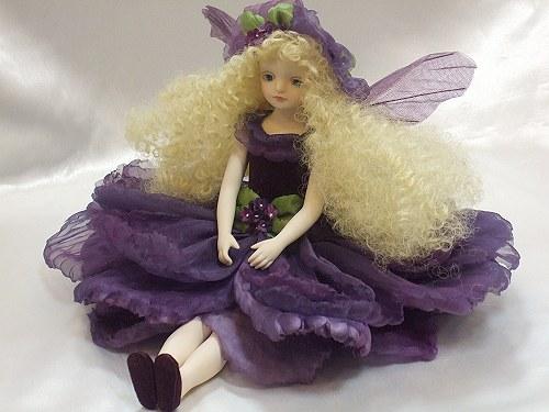 【送料無料】若月まり子 お花の妖精人形♪エルフィンフローリー:ヘリオトロープ【楽ギフ_のし】ビスクドール 御祝 贈答 創作人形 ギフト 結婚祝 出産祝 記念品