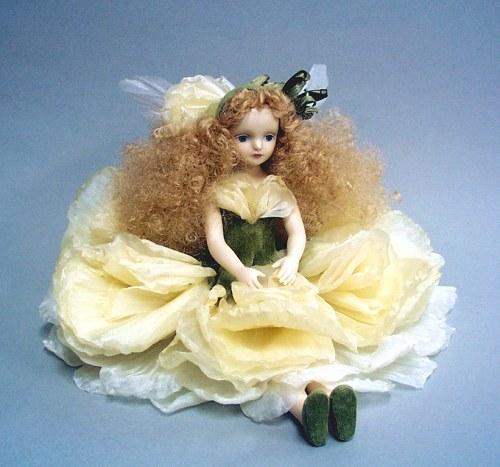 【送料無料】若月まり子 お花の妖精人形♪エルフィンフローリー:ラナンキュラス(ホワイト)【楽ギフ_のし】ビスクドール 御祝 贈答 創作人形 ギフト 結婚祝 出産祝 記念品