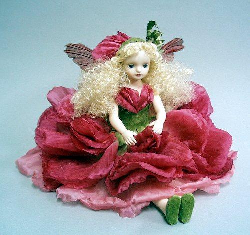 【送料無料】若月まり子 お花の妖精人形♪エルフィンフローリー:ラナンキュラス(レッド)【楽ギフ_のし】ビスクドール 御祝 贈答 創作人形 ギフト 結婚祝 出産祝 記念品