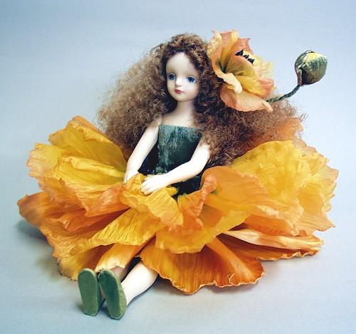 【送料無料】若月まり子 お花の妖精人形♪エルフィンフローリー:ポピー(ワイン)【楽ギフ_のし】ビスクドール 御祝 贈答 創作人形 ギフト 結婚祝 出産祝 記念品