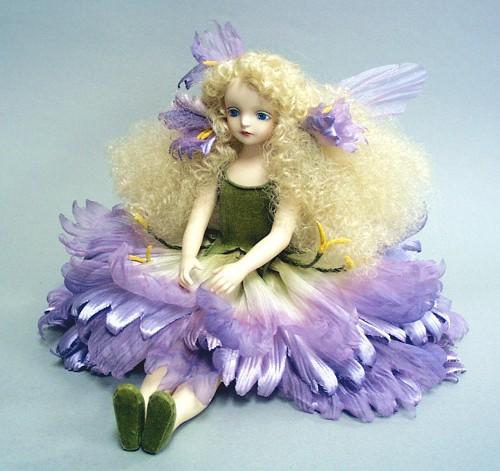【送料無料】若月まり子 お花の妖精人形♪エルフィンフローリー:ダイアンサス(パープル)【楽ギフ_のし】ビスクドール 御祝 贈答 創作人形 ギフト 結婚祝 出産祝 記念品