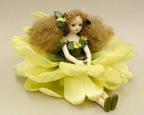 【送料無料】若月まり子 お花の妖精人形♪エルフィンフローリー:バーベナ(イエロー)【楽ギフ_のし】ビスクドール 御祝 贈答 創作人形 ギフト 結婚祝 出産祝 記念品