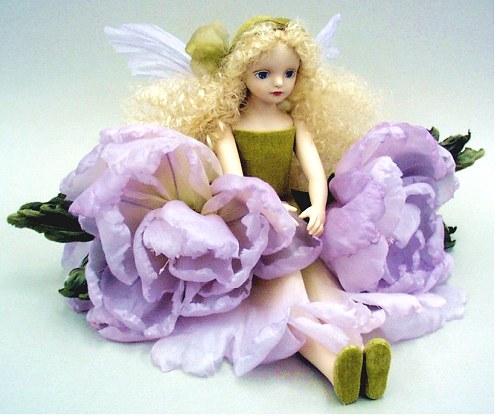 【送料無料】若月まり子 お花の妖精人形♪エルフィンフローリー:ピオニー(パープル)【楽ギフ_のし】ビスクドール 御祝 贈答 創作人形 ギフト 結婚祝 出産祝 記念品