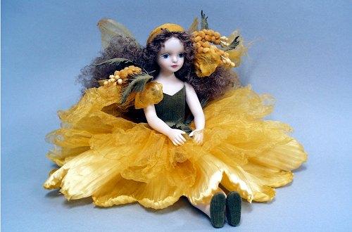 【送料無料】若月まり子 お花の妖精人形♪エルフィンフローリー:ミモザ【楽ギフ_のし】ビスクドール 御祝 贈答 創作人形 ギフト 結婚祝 出産祝 記念品