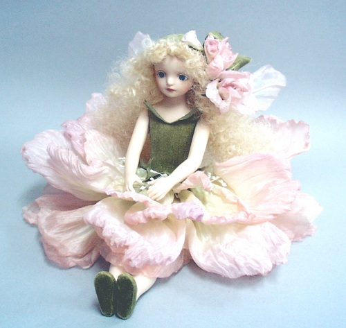 【送料無料】若月まり子 お花の妖精人形♪エルフィンフローリー:ストック(ピンク)【楽ギフ_のし】ビスクドール 御祝 贈答 創作人形 ギフト 結婚祝 出産祝 記念品