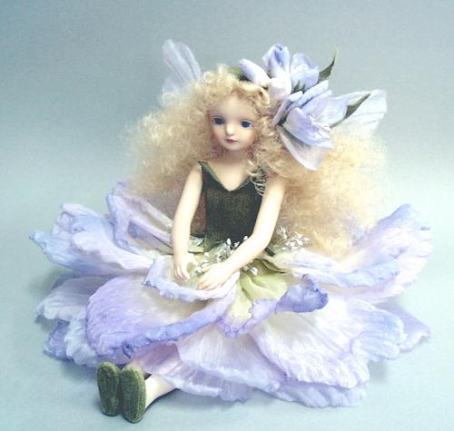 【送料無料】若月まり子 お花の妖精人形♪エルフィンフローリー:ストック(パープル)【楽ギフ_のし】ビスクドール 御祝 贈答 創作人形 ギフト 結婚祝 出産祝 記念品