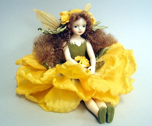 【送料無料】若月まり子 お花の妖精人形♪エルフィンフローリー:菜の花【楽ギフ_のし】ビスクドール 御祝 贈答 創作人形 ギフト 結婚祝 出産祝 記念品