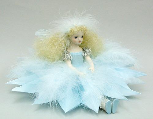 【送料無料】若月まり子 お花の妖精人形♪エルフィンフローリー:雪の精【楽ギフ_のし】ビスクドール 御祝 贈答 創作人形 ギフト 結婚祝 出産祝 記念品