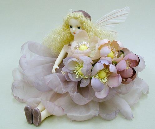 【送料無料】若月まり子 お花の妖精人形♪エルフィンフローリー:アネモネ(ピンク)【楽ギフ_のし】ビスクドール 御祝 贈答 創作人形 ギフト 結婚祝 出産祝 記念品