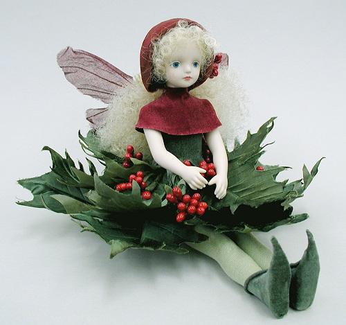 【送料無料】若月まり子 お花の妖精人形♪エルフィンフローリー:ひいらぎ【楽ギフ_のし】ビスクドール 御祝 贈答 創作人形 ギフト 結婚祝 出産祝 記念品