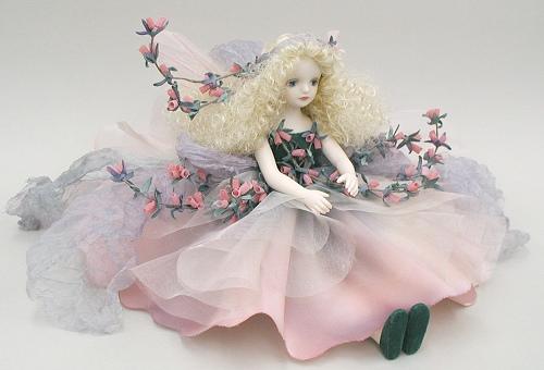 【送料無料】若月まり子 お花の妖精人形♪エルフィンフローリー:エリカ(スイート・ピンク)【楽ギフ_のし】ビスクドール 御祝 贈答 創作人形 ギフト 結婚祝 出産祝 記念品