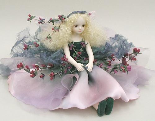 【送料無料】若月まり子 お花の妖精人形♪エルフィンフローリー:エリカ(ミスティ・ピンク)【楽ギフ_のし】ビスクドール 御祝 贈答 創作人形 ギフト 結婚祝 出産祝 記念品