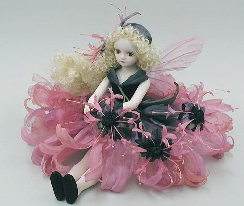 【送料無料】若月まり子 お花の妖精人形♪エルフィンフローリー:ベルガモット(ピンク)【楽ギフ_のし】ビスクドール 御祝 贈答 創作人形 ギフト 結婚祝 出産祝 記念品