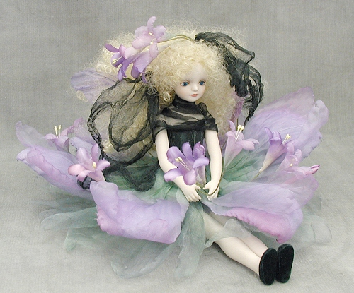 Wakatsuki 馬林兒童花仙子娃娃! elfinflory: 卜 (紫色) 娃娃童話花仙子瓷娃娃禮品慶典紀念品陶 05P04Jul15