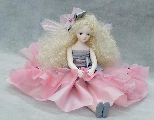 【送料無料】若月まり子 お花の妖精人形♪エルフィンフローリー:ジョイ(ピンク)【楽ギフ_のし】ビスクドール 御祝 贈答 創作人形 ギフト 結婚祝 出産祝 記念品