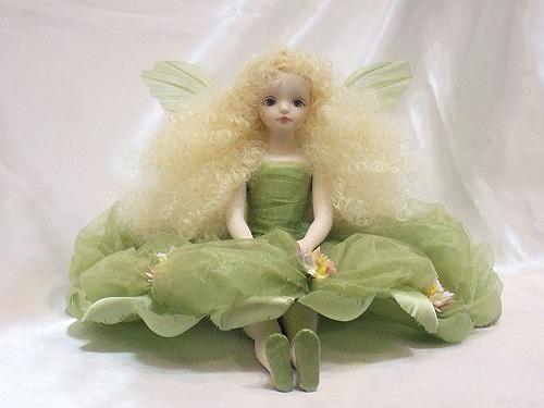 【送料無料】若月まり子 お花の妖精人形♪エルフィンフローリー:クロリス(グリーン)【楽ギフ_のし】ビスクドール 御祝 贈答 創作人形 ギフト 結婚祝 出産祝 記念品
