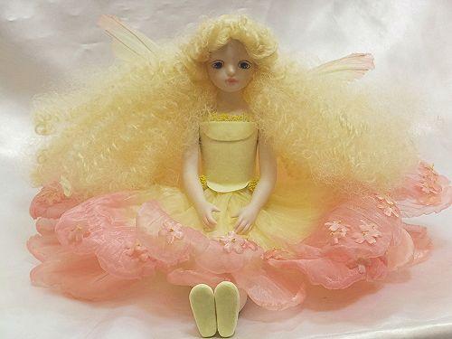 【送料無料】若月まり子 お花の妖精人形♪エルフィンフローリー:モスフロックス(ピンク)【楽ギフ_のし】ビスクドール 御祝 贈答 創作人形 ギフト 結婚祝 出産祝 記念品