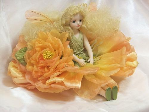 【送料無料】若月まり子 お花の妖精人形♪エルフィンフローリー:オールドローズ(イエロー)【楽ギフ_のし】ビスクドール 御祝 贈答 創作人形 ギフト 結婚祝 出産祝 記念品