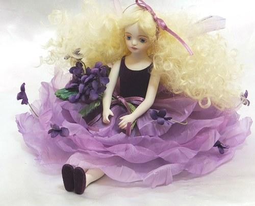 【送料無料】若月まり子 お花の妖精人形♪エルフィンフローリー:ヴァイオレット【楽ギフ_のし】ビスクドール 御祝 贈答 創作人形 ギフト 結婚祝 出産祝 記念品