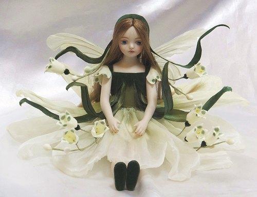 【送料無料】若月まり子 お花の妖精人形♪エルフィンフローリー:スノーフレーク【楽ギフ_のし】ビスクドール 御祝 贈答 創作人形 ギフト 結婚祝 出産祝 記念品