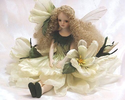 【送料無料】若月まり子 お花の妖精人形♪エルフィンフローリー:ガーデニア(くちなし)【楽ギフ_のし】ビスクドール 御祝 贈答 創作人形 ギフト 結婚祝 出産祝 記念品