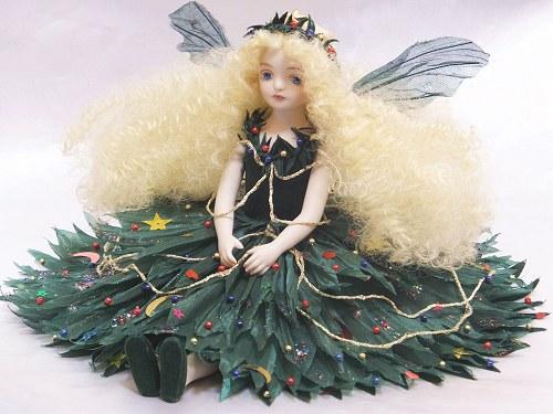 【送料無料】若月まり子 お花の妖精人形♪エルフィンフローリー:ファンタジー・クリスマスツリー【楽ギフ_のし】ビスクドール 御祝 贈答 創作人形 ギフト 結婚祝 出産祝 記念品
