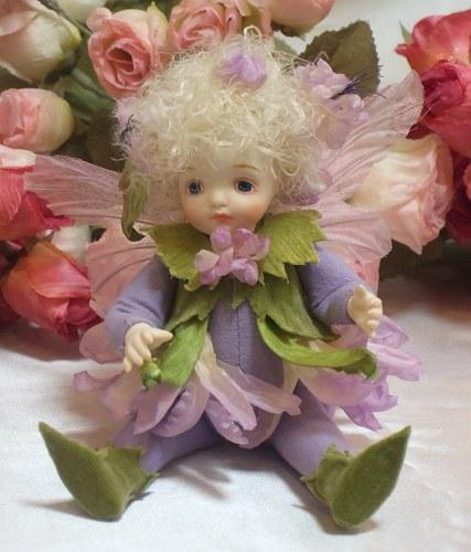 【送料無料】若月まり子 お花の妖精人形♪リトルエルフィン:チコリ【楽ギフ_のし】ビスクドール 御祝 贈答 創作人形 ギフト 結婚祝 出産祝 記念品