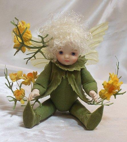 【送料無料】若月まり子 お花の妖精人形♪リトルエルフィン:カモミール【楽ギフ_のし】ビスクドール 御祝 贈答 創作人形 ギフト 結婚祝 出産祝 記念品
