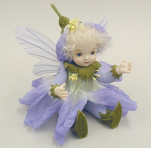 【送料無料】若月まり子 お花の妖精人形♪リトルエルフィン:ピュリアローズ(パープル)【楽ギフ_のし】ビスクドール 御祝 贈答 創作人形 ギフト 結婚祝 出産祝 記念品