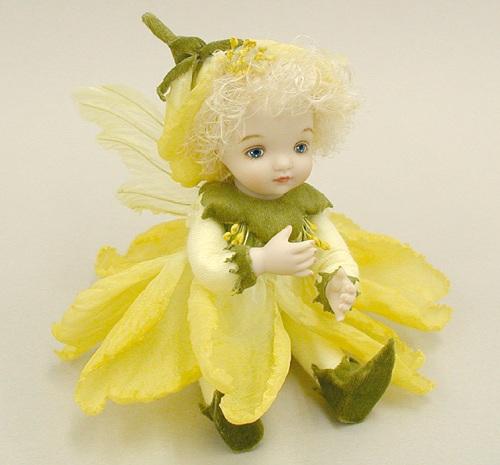 【送料無料】若月まり子 お花の妖精人形♪リトルエルフィン:ピュリアローズ(イエロー)【楽ギフ_のし】ビスクドール 御祝 贈答 創作人形 ギフト 結婚祝 出産祝 記念品