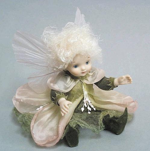 【送料無料】若月まり子 お花の妖精人形♪リトルエルフィン:月見草(ピンク)【楽ギフ_のし】ビスクドール 御祝 贈答 創作人形 ギフト 結婚祝 出産祝 記念品