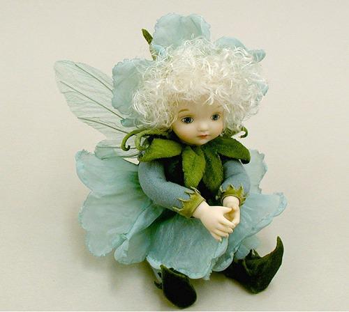 【送料無料】若月まり子 お花の妖精人形♪リトルエルフィン:ペチュニア(ペパーミント・グリーン)【楽ギフ_のし】ビスクドール 御祝 贈答 創作人形 ギフト 結婚祝 出産祝 記念品